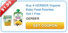 Buy 4 GERBER Organic Baby Food Pouches, Get 1 FREE!
