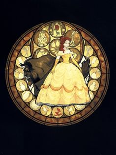 Stain glass beauty and the beast