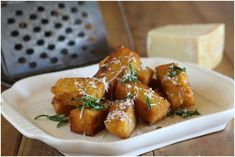 Crispy Polenta Bites with Rosemary and Parmesan - Maggie Beer Beer Recipes, Veggie Recipes, Gourmet Recipes, Vegetarian Recipes, Snack Recipes, Cooking Recipes, Snacks, Corn Recipes, Fish Recipes