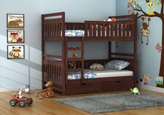Buy Douglas Bunk Bed (Walnut Finish) Online in India - Wooden Street Bunk Beds With Drawers, Bunk Beds With Storage, Kids Bunk Beds, Bed Storage, Storage Spaces, Solid Wood Bunk Beds, Wooden Bunk Beds, Space Saving Beds, Space Saving Furniture