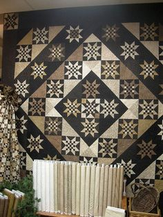 Made by Country Sampler. Designed by Lisa Bonjean , Primitive Gatherings Sampler Quilts, Star Quilts, Scrappy Quilts, Quilt Blocks, Country Sampler, Country Quilts, Black And White Quilts, Black White, Two Color Quilts