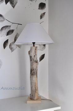 Driftwood Lamp   Driftwood Lighting   Beach House Lighting  Natural  Driftwood And White Shade