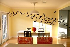 Bats in flight back drop for your Halloween party! Simple last-minute decorating idea.