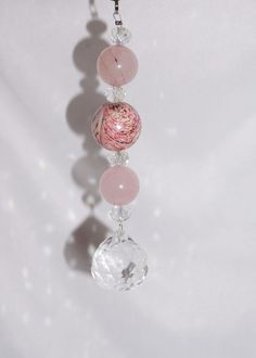 Chunky Pink, Rear View Mirror Charm, Love Stone, Rose Quartz, Crystal Ball