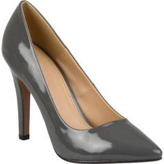 Brinley Co. Women's Wide Width Pointed Toe Patent Pumps, Size: 7.5, Gray