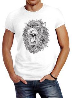 Herren T-Shirt Löwe Mandala Atzekenmuster Boho Atzec Federn Ethno Lion Neverless Herren T Shirt, Loewe, Slim Fit, Mandala, Lion, Product Description, Mens Tops, Fashion, Sketching