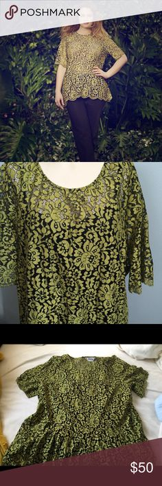 Green lace flared top! Worn once, has a loose blank tank top sewn inside, scalloped edging, gorgeous lime greenish and black pattern. Lola Rose exclusively for Lane Bryant! Says 26 but definitely a 22/24 Lane Bryant Tops Blouses