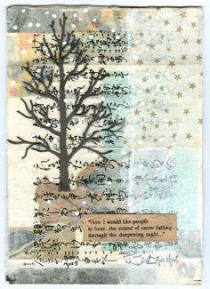 snow tree ~ mixed media ~ by lisa chun