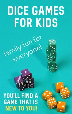 Selection of the very best dice games for kids. You will new games to keep the kids busy while you work. Or play these as family games on family game night! Indoor Activities For Kids, Kids Learning Activities, Infant Activities, Summer Activities, Craft Activities, Preschool Crafts, Games For Kids, Teaching Kids, Activity Ideas