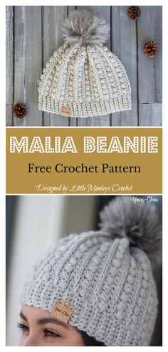 Crochet For Beginners Malia Beanie Free Crochet Pattern and Video Tutorial - This Malia Buttoned Cowl and Beanie Free Crochet Pattern is simple and quick to work up. It features an easy stitch pattern and bulky weight yarn. Crochet Scarves, Crochet Yarn, Easy Crochet, Crochet Stitches, Beginner Crochet Hat, Crochet Dolls, Crochet Headbands, Crochet Clothes, Beanie Pattern Free
