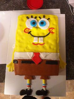 Sponge bob birthday cake. Sponge cake with buttercream frosting. It was a big challenge for me but it was fun and amazing to see my sons face when he saw it.