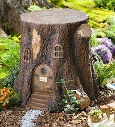 Fairy Garden Tree Stump Stool is perfect for fairies and full-grown people alike! Crafted to resemble a real tree stump, it makes the perfect fairy garden accent, but it can be used as a table or stool for humans, too :) - Gardening Life Today Fairy Tree Houses, Fairy Garden Houses, Garden Trees, Garden Path, Fairies Garden, Balcony Garden, Fairy Doors On Trees, Garden Table, Garden Crafts