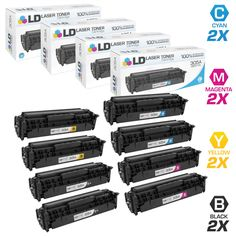 LD © Compatible Replacements for HP305X/A Set of 8 Laser Toner Cartridges Includes: 2 CE410X High Yield Black, 2 CE411A Cyan, 2 CE412A Yellow, and 2 CE413A Magenta