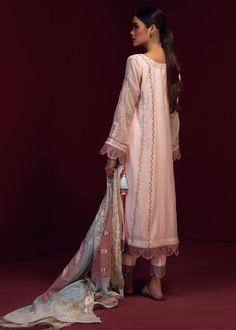 NIHAAL – LAAM Cotton Silk, Cotton Fabric, Pink Fabric, Pakistani Dresses, Cool Style, Personal Style, Sari, Product Description, Scallops