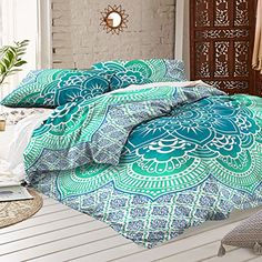 Queen Size Green Lotus Mandala Duvet Cover Quilt Bohemian Bedding Blanket Cover Indian Star Floral Mandala Flower Doona Cover Sets Dorm Decor With 2 Pillow Covers By Rawyal Crafts Ready for bedroom  ideas? - http://aluxurybed.com/product/queen-size-green-lotus-mandala-duvet-cover-quilt-bohemian-bedding-blanket-cover-indian-star-floral-mandala-flower-doona-cover-sets-dorm-decor-with-2-pillow-covers-by-rawyal-crafts/