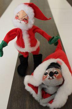 38595b9eb0194 Vintage annalee mobilitee dolls santa claus and mouse in santa hat vintage  christmas decor