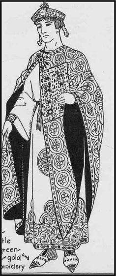 A garnache is a long cloak with cape-like sleeves. It is often lined/collared with fur and open at the sides under arm