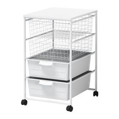 BOUGHT two of the plastic drawers. I don't like the look. However, the drawers on the bottom keep the dust off of the fabric in the wire drawers above AND they were around $4.00 each. Yay, Ikea.