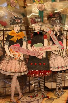 Art dolls by Jackie Peters working with  Character Constructions art stamps
