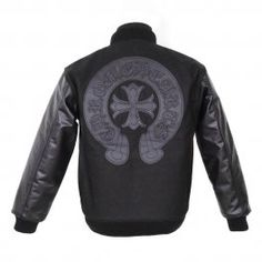 d3ab6d26691 Leather Horseshoes Cross Back Chrome Hearts Black Jacket