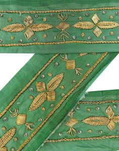 Weinlese-Sari Border Antique Hand Beaded Indian Trim Sewing 1YD Green Ribbon Lac in Möbel & Wohnen, Hobby & Künstlerbedarf, Nähen | eBay