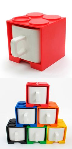 Stackable Lego Mugs ♡ but not mugs. These would be cute in the soon to be lego bedroom