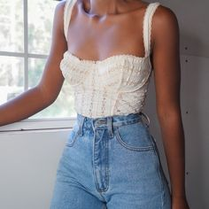 SOLD cream eyelet bustier tank top for a size XS/S (B cup). Very stretchy […] The post SOLD cream eyelet bustier tank top for a size XS/S (B cup). Very stretchy an… appeared first on How To Be Trendy. Street Style Outfits, Mode Outfits, School Outfits, Look Fashion, 90s Fashion, Fashion Outfits, Girl Fashion, Romantic Style Fashion, Fashion Ideas