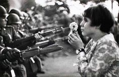 There are many well-known images of march on the Pentagon in October 1967, when 35,000 anti-war protestors convened on the symbol of America's military. But none stand out quite like the one of 17-year-old Jan Rose Kasmir as she offers flowers in place of soldiers sheathed bayonets. The gesture, needless to say, was ignored and protestors were beaten, thrown off the Pentagon stairs, tear gassed, and arrested.