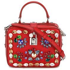 Dolce & Gabbana 'Rosaria' shoulder bag ($1,585) ❤ liked on Polyvore featuring bags, handbags, shoulder bags, shoulder handbags, red shoulder handbags, dolce gabbana handbags, dolce gabbana shoulder bag and red shoulder bag