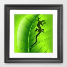 Lizard Gecko Shape on Green Leaf Framed Art Print
