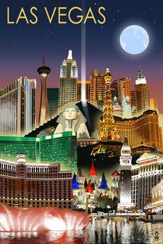 Las Vegas, Nevada - Las Vegas at Night - Lantern Press Poster