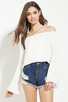 Buy it now. FOREVER21 Women's  Cream Floral-Embroidered Crop Top. details A woven crop top with an elasticized neckline, tonal floral embroidery on its front and below its shoulders, and ladder-cutout crochet accents on each of its long bell sleeves. Content + Care - Shell: 100% rayon- Embroidery: 100% polyester- Hand wash cold- Made in China Size + Fit - Model is 5'8.5%22 and wearing a Small- Full length: 16.5%22- Chest: 38%22- Waist: 40%22- Sleeve length: 20.25%22 , topcorto, croptops…