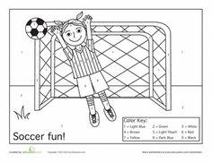Worksheets: Soccer Color by Number