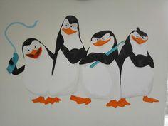 Pinguïns muurschildering