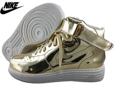 best website 16f4c ead28 Mens Womens Nike Lunar Force One HI SP Leather Shoes Liquid Metallic Gold  652845-770