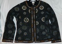 NEW Chico's Beaded Sequin Jacket Black Lined pockets Sz 1 (M) #Chicos #BasicJacket