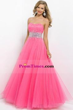 Brightly Colored Prom Dress Scalloped Neckline Pincess Floor Length Beaded Tulle