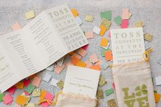I am so in love with this idea: create a wedding program, cut up lots and lots of colorful and...