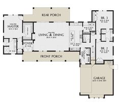 House Plans 3 Bedroom, Garage House Plans, Barn House Plans, Ranch House Plans, New House Plans, Small House Plans, House Floor Plans, U Shaped House Plans, U Shaped Houses