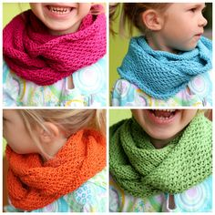 """These Honey Cowls have become my go-to """"couch"""" projects. (See my first three here , here and here .) Thes e four Little Honey Cowls hav. Knitting For Kids, Crochet For Kids, Loom Knitting, Knitting Projects, Baby Knitting, Crochet Baby, Crochet Projects, Knit Crochet, Knitting Patterns"""