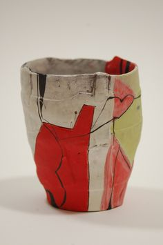 Kari Smith Title: Cup   Description: Red clay, oxidation ^6, painted slips and engobes.   Dimensions: 5.00 H X 4.50 W X 4.00 D Inches   Price: 65.00