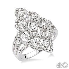 1 Ctw Round Cut Diamond Fashion Ring in 14K White Gold