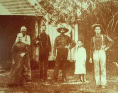 """Nineteenth-century South Florida pioneers (from left) Margaretta M. Pierce, husband Hannibal Dillingham Pierce, Andrew W. Garnett, James ""Ed"" Hamilton, Lillie E. Pierce and Charles W. Pierce. Charles Pierce was one of Palm Beach County's earliest settlers, and his memoir on early life in the region was edited by recently deceased FAU historian Donald Curl. (Photo courtesy of the Historical Society of Palm Beach County)""."