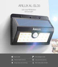 Arilux Solar Powered 20 LED Waterproof PIR Motion Sensor Wall Security Light for sale online Outdoor Light Fixtures, Outdoor Wall Lighting, Outdoor Walls, Solar Battery, Solar Lights, Solar Lighting System, Light Flashlight, Lighting Manufacturers, Solar Power