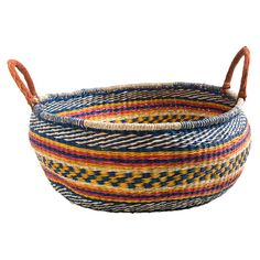 Add a touch of colour to your home with this stunning seagrass basket, woven over a cane frame and featuring two handles. Perfect for storing firewood in you...