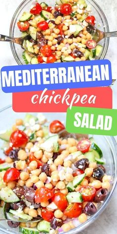 Looking for a QUICK and HEALTHY Lunch recipe? This Chickpea Salad recipe takes less than 20 minutes to prepare and is packed with Mediterranean flavors!  This healthy salad makes a great side dish, filling for a wrap for lunch, and even works as a hearty dip when served with pita chips!