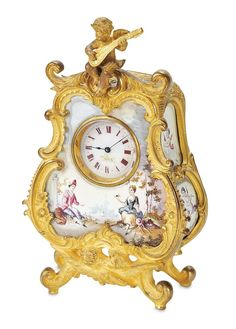 Outstanding Austrian Enameled Metal Miniature Clock with Cherub. http://Theriaults.com