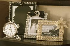 dollar tree picture frames that are spray painted with glass gems, bows, broaches, and flowers