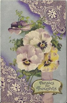 Antique Postcard Pansies for Thoughts Purple Pansy Posy or Nosegay 1909 by BB London Spring Lace Doily   postcardsintheattic #bmecountdown