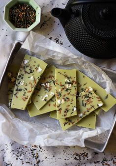 Matcha Green Tea Chocolate with Genmaicha. The two tea profiles of matcha and genmaicha work well in this mildly sweet choclate. #matcha #snack #chocolate